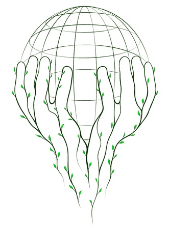 fragile peace: Green hands and globe. Layered EPS8 vector illustration. Illustration