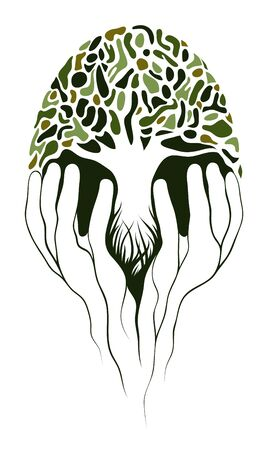 Tree in hands. Layered EPS8 vector illustration.