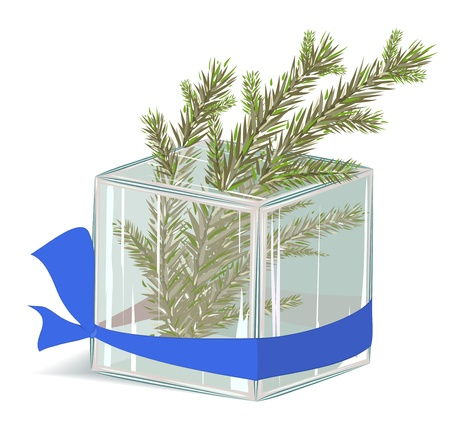 Christmas tree in ice cube. no transparency, EPS8 layered illustration Stock Vector - 11552998