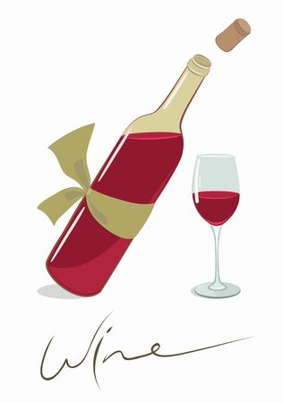 Wine bottle with a glass.  EPS8 layered vector illustration Stock Vector - 11552993