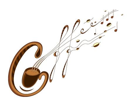 Artistieke koffie en musik teken. EPS 8 goed orginized, door letters, kleuren en contouren. Stock Illustratie