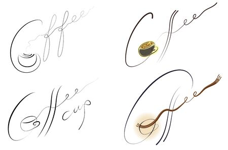Coffee handwritten sign set. EPS 10 layered vector illustration. Feather effect with one path. Vector