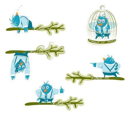 Twitter blue birds on the branch in different poses. EPS 8 organized vector illustration. No effects.  Vector