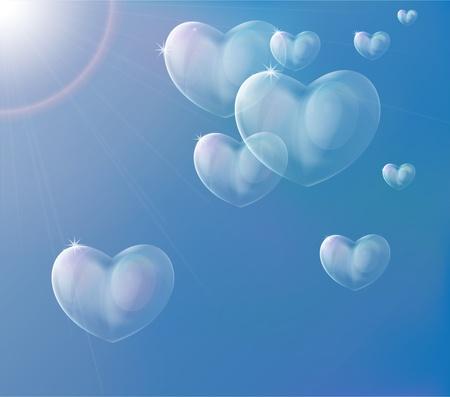 Hearts soap bubbles. Layered vector illustration EPS10.  Illustration
