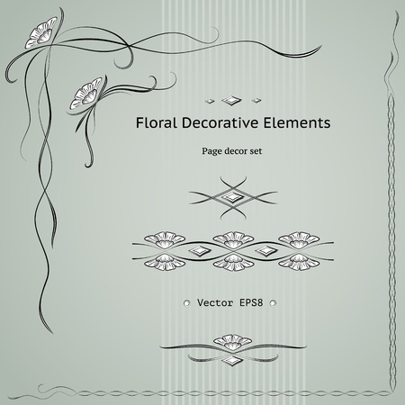 Floral decoration elements set.  Vector