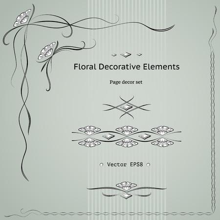 Floral decoration elements set.  Vector