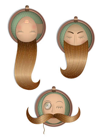 Hairstyle Vintage Set in Frames Layered, well organized Stock Vector - 12495400