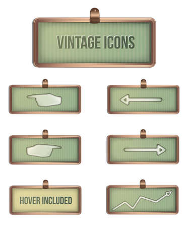 Vintage rectangular icons  Layered and organized  Handover color included  Vector