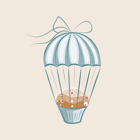 Parachute Muffin  illustration Vector