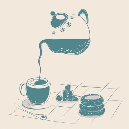 tearoom: Tea Drinking illustration