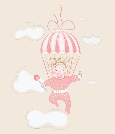 Parachuting Little Girl with Lollipop.illustration.  Stock Vector - 12828849