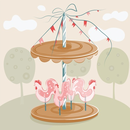 bonbon: Sweet Rooster Carousel. illustration.