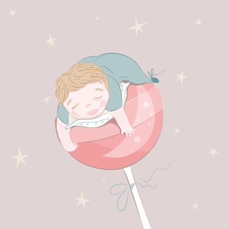 dulces sue�os: Sweet Dreams beb�. ilustraci�n. Vectores