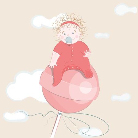 Sweet Little Girl on the Lollipop.illustration. Stock Vector - 12828848