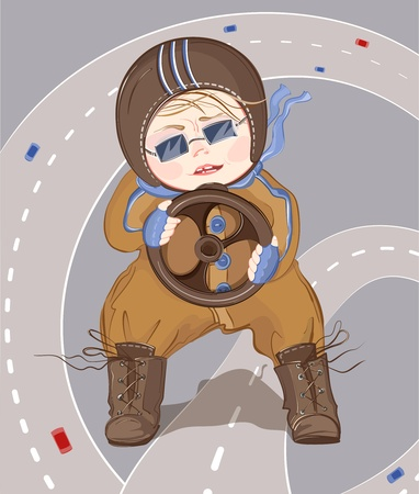 Little Driver Boy. illustration of a little child playing with toy cars. Transparent shadow. Vector