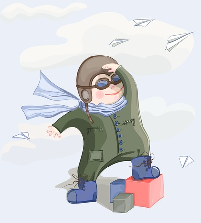 small plane: Little Pilot Boy. illustration of a little child playing with paper airplanes. No effects used.
