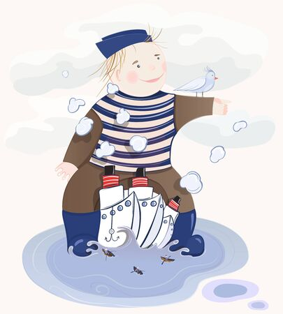seaman: Little Sailor Boy. illustration of a little child playing in a pool with ships.  Transparent shadows.