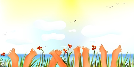 toes: Cheerful Summer Day with Toes up    Illustration
