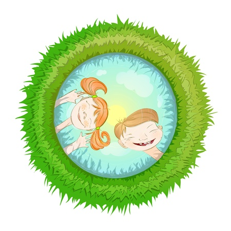 grimace: Children Playing with Water  Illustration  of playing children, a boy and a girl making faces  Illustration