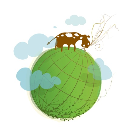 Cartoon Green Planet on White with a Cow  Environmental cartoon illustration, of green earth  Stock Vector - 14318054