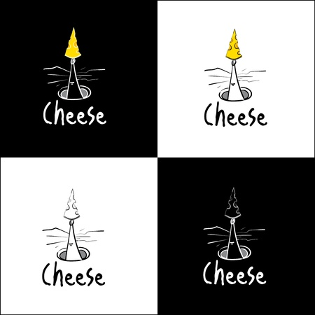 mouse hole: A tiny logo  illustration of a mouse holding a piece of cheese on its nose.  Illustration