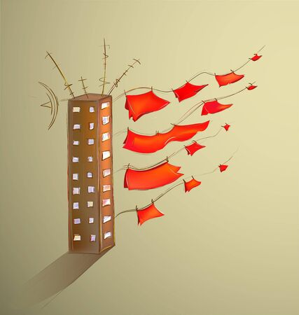 scarlet: Scarlet Sails on Land. Cartoon vector illustration of a house with fluttering linen.