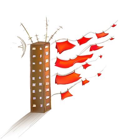 libbenő: Scarlet Sails a szárazföldön. Cartoon vektoros illusztráció egy ház csapkodó vászon. Illusztráció