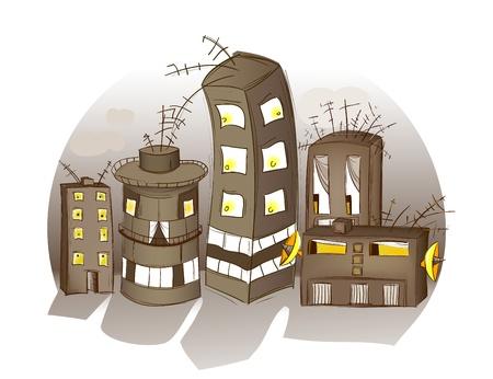 pobres: Dibujos Spooky Casas. Ilustraci�n de un barrio de locos. Gradientes simples y las mallas utilizadas. Capas y agrupados por temas.