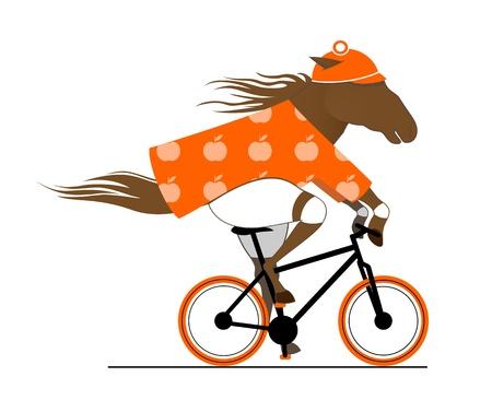自転車に乗ってまだら馬。サイクルの似顔絵。サイクリング馬の面白いイラスト。