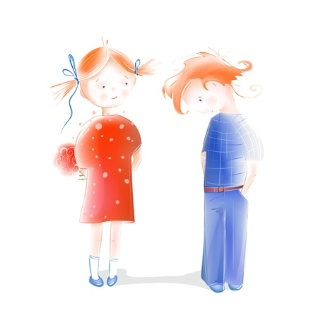 A Little Girl Presenting Flowers to a Boy. Children in love. Romantic  illustration of two cute children.  Vector