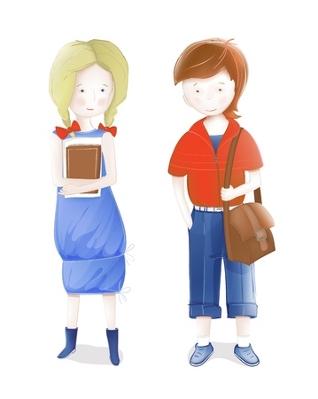 school bag: Young Students a Girl and a Boy Going to School. illustration of two young students with books and a schoolbag. Illustration