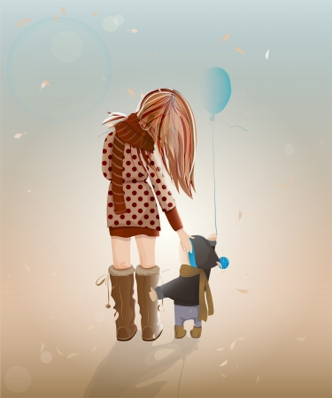Young Mother with a Child Walking. illustration of walking with a child young woman. Vector