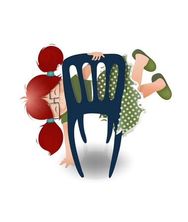 ponytails: Little Girl Wearing Glasses Playing on a Chair. cartoon illustration of a little funny girl, playing with a chair.