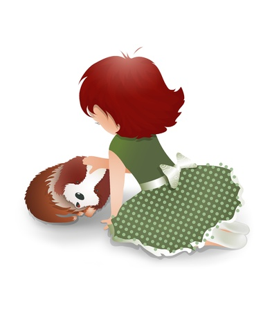 little girl sitting: Little Girl Playing with a Cute Little Dog. cartoon illustration of a little funny girl, flattering a cute dog.
