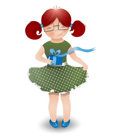 ponytails: Little Girl Wearing Glasses with a Gift Box. cartoon illustration of a little funny girl, holding a gift box with a bow.