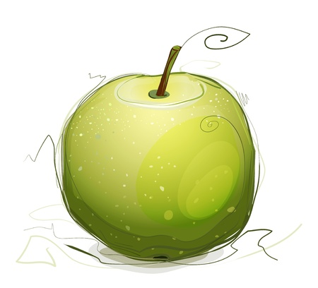 Green Apple Illustration. green apple illustration. Sketchy style. Illustration