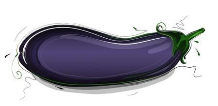 aubergine: Eggplant Vitamins and Minerals Illustration eggplant illustration. Sketchy style.