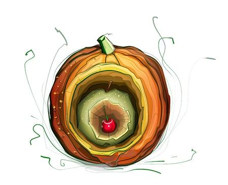Pumpkin Apple Cherry Still Life Illustration.vegetarian still life illustration. Sketchy style. Stock Vector - 15377281