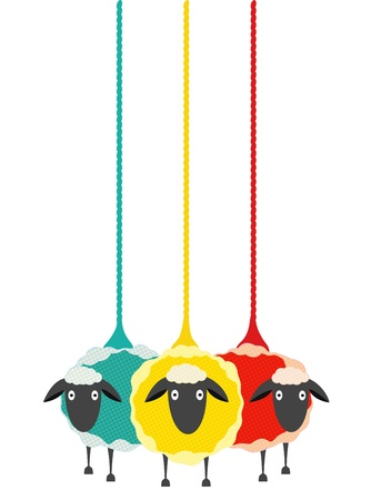 yarns: Three Yarn Sheep.  graphic illustration of three colored sheep with yarn.   Illustration
