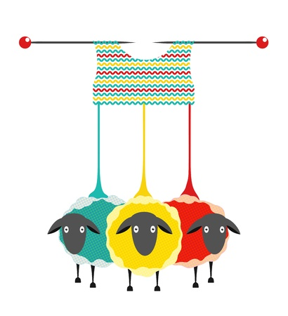 yarns: Three Knitting Yarn Sheep. graphic illustration of three colored sheep with needles knitting a sweater.