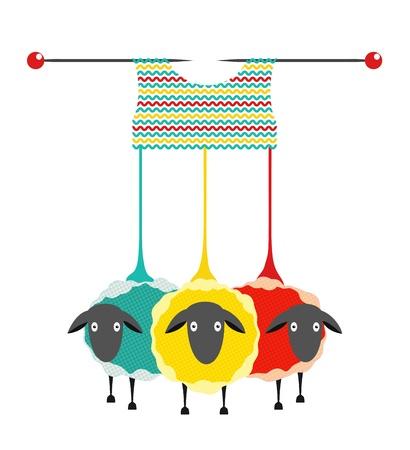 Three Sheep Knitting Yarn. ilustración gráfica de tres ovejas coloreado con agujas de tejer un suéter.