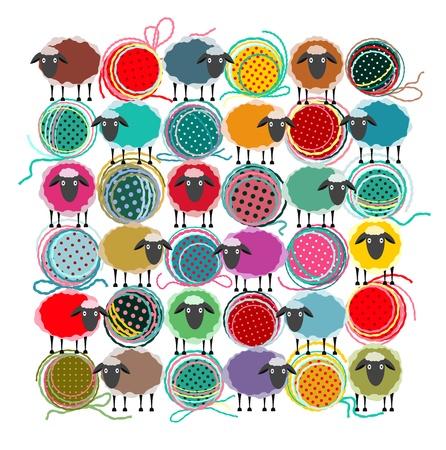 Breien Garen Ballen en schapen Abstract Vierkante samenstelling. grafische illustratie van felgekleurde garens ballen met schapen. Alle zijn gelaagd en gegroepeerd afzonderlijk eenvoudig te gebruiken. Vector Illustratie