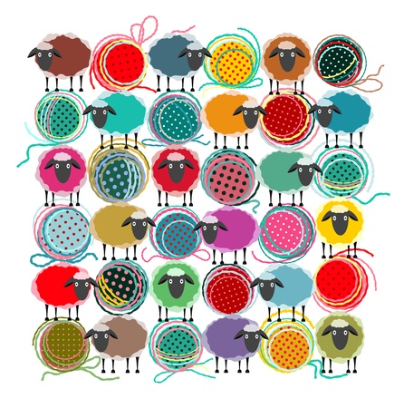 yarns:  Knitting Yarn Balls and Sheep Abstract Square Composition.  graphic illustration of brightly colored yarn balls with sheep. All are layered and grouped to be simply used separately. Illustration