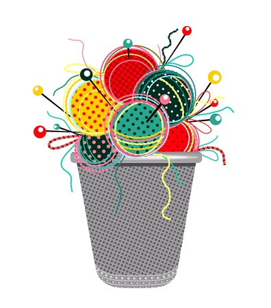 Sewing Knits with Needles and Thimble Composition.graphic illustration of brightly colored yarn balls with needles and a thimble. Illustration