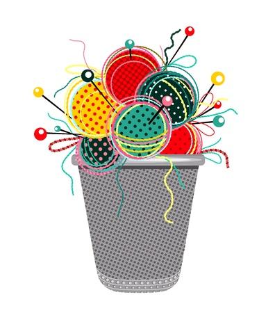 Naaien Knits met Naalden en Thimble Composition.graphic illustratie van felgekleurde garens ballen met naalden en een vingerhoedje.