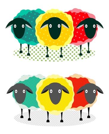 yarns: Three Sheep Illustration. graphic illustration of three colored staring sheep.