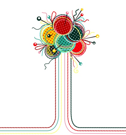 yarns:  Knitting Yarn Balls Abstract Composition. graphic illustration of brightly colored yarn balls with needles. Illustration