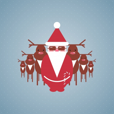 Santa and his Reindeer Gang Illustration Stock Vector - 15903745