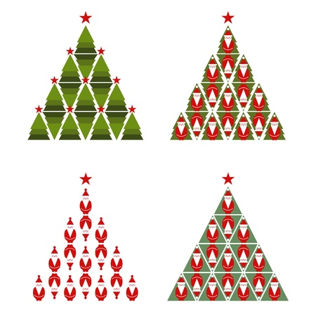 Santa Christmas Tree Stock Vector - 15903744