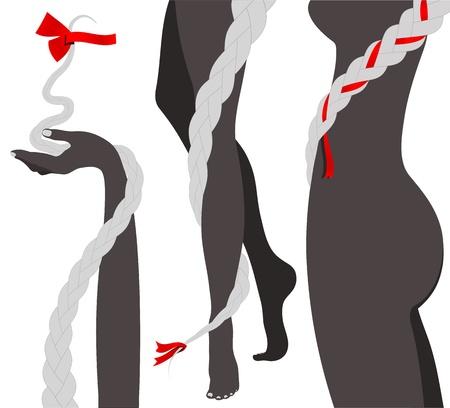 plaits: Hair Braids and Woman Body Silhouette
